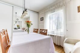 ruokailuhuone taipuu tarvittaessa makuuhuoneeksi