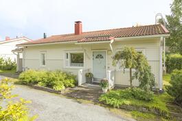 Talo on sijoitettu tontille niin, että piha on suojassa talon takana.