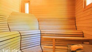 Viihtyisä sauna muotolauteineen. Harvian ainavalmis kiuas.