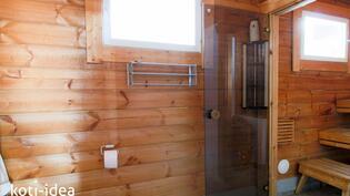 Saunamökin sauna, wc ja pesuhuone