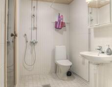 Reilun kokoinen kylpyhuone, jossa myös wc