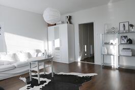 Kulku olohuoneeseen eteisestä ja keittiöstä / Till vardagsrummet från köket och tamburen