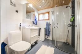 Pienemmän asunnon kylpyhuone