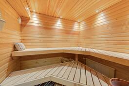 Tilava ja kaunis sauna, jossa sähkökiuas