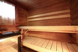 Juuri uusittu sauna ja pesuhuone.