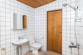 Kylpyhuoneessa wc-istuin ja allas