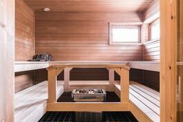 Ikkunallisessa löylyhuoneessa on tilaa suuremmallekin saunaseurueelle.