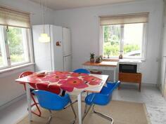Valoisa keittiö, jossa ikkunat kahteen suuntaan