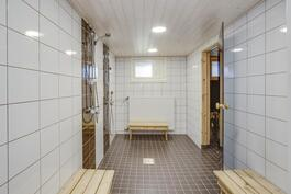 Taloyhtiön saunaosaston pesuhuone