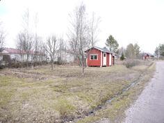 Varastorakennus ja istutuksia/ Förrådsbyggnad och planteringar