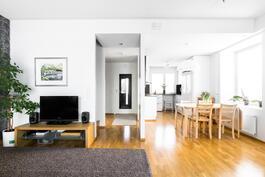 Iso olohuoneen, ruokailutilan ja keittiön muodostama alakerta.