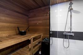 kylpyhuone ja sauna tästä asunnosta (malli)