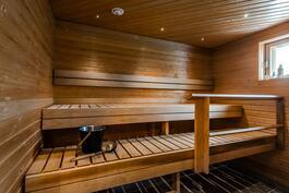 Mahtavankokoinen ikkunallinen sauna
