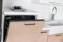 Integroitu astianpesukone on nostettu lattiantasosta.