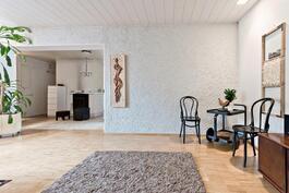 Olohuoneessa kaunista rapattua seinää