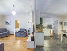 Olohuone ja keittiö eteisestä kuvattuna.