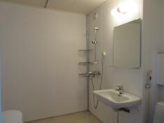 ... nk. kasettikylpyhuoneen seinät ovat kestävää peltiä, jotka maalattu kauniin vaaleaksi!