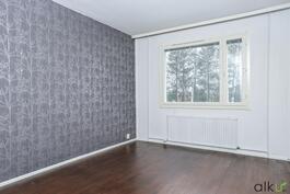 Ikkunasta koivupuut kurkistavat ja luonnonvalo seikkailee huoneeseen.