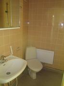 WC, toisella seinällä suihku sekä tila pesutornille