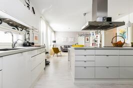 Tässä keittiössä kelpaa kokkailla.