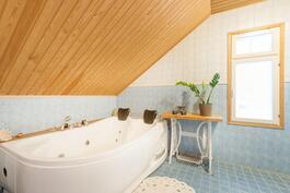 Kylpyhuoneessa kahden hengen poreamme