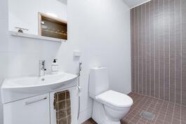 molemmissa wc tilossa, myös allas- ja peilikaapit