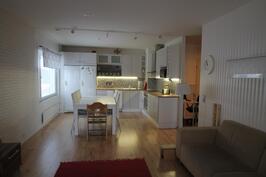 Keittiö ja olohuone yhteynäistä tilaa