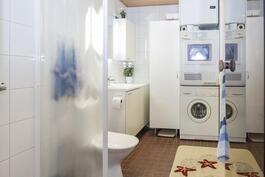 Pesuhuone/ kodinhoitohuone on erittäin hyvin suunniteltu