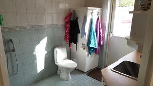 Kodinhoitohuone/pesuhuone (lattialämmitys) ja käynti takapihalle
