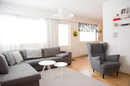 Olohuoneen ja keittiön välistä käynti takapihalle ja terassille