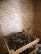 Taloyhtiön uudistettu saunaosasto.