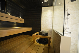 Esimerkkikuva tyylistä valmiista kohteestamme naapurissa. 2. krs WC + suihku + sauna