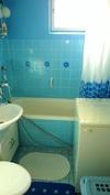 Kylpyhuoneessa suihku, amme ja pesukoneliitäntä