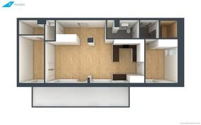 3D pohjakuvat peilikuvana näistä huoneistoista