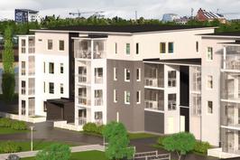B-talo pihalta päin, näiden huoneistojen parvekkeet vasemmassa kulmassa lähimpänä salmea