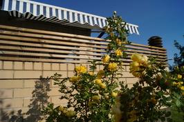 Viihtyisä terassi keskellä kukkaloistoa.