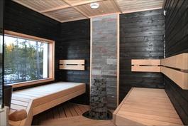 Saunan, kylpylän ja kotiteatterin äänentoiston johdotukset on integroitu talon rakenteisiin.