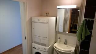 WC, pesuallas ja pesukone sekä kuivuri