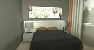 Sisustussuunnittelijan imagokuva makuuhuoneesta