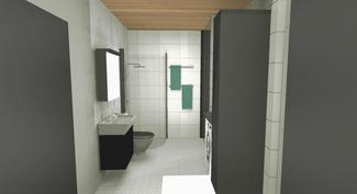 Sisustussuunnittelijan tekemä imagokuva kylpyhuoneesta