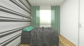 Sisustussuunnittelijan tekemä imagokuva makuuhuoneesta