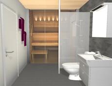 Sisustussuunnittelijan tekemä imagokuva pesuhuoneesta ja saunasta