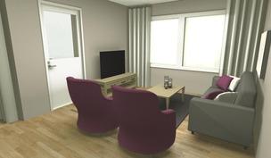 Sisustussuunnittelijan imagokuva olohuoneesta
