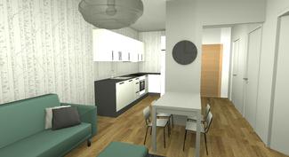 Sisustussuunnittelijan imagokuva olohuoneesta ja keittiöstä