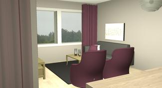 Sisustussuunnittelijan tekmä imagokuva olohuoneesta