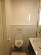 Seinä WC, seinä wc:n takaa löytyy huoneiston vesijohtojen liitokset