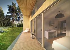 Molemmista makuuhuoneista on käynti suojaisalle, metsään rajoittuvalle terassille
