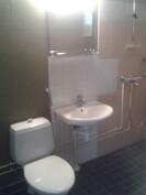 WC/suihku, jossa liitäntä ja tila pesukoneelle