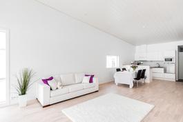 Keittiö ja olohuone muodostavat suuren yhtenäisen tilan