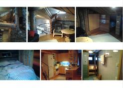 Ylärivissä parvinäkymiä, alarivissa makuualkovi, keittiö, pesuh/sauna
